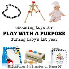An early intervention therapist shares tips for choosing the best toys for baby's first year. #childdevelopment #pediOT