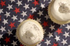 Cupcake honoring President George H. W. Bush. Grapefruit poppy seed cupcake with grapefruit jello filling. Topped with cream cheese frosting and garnished with poppy seeds.