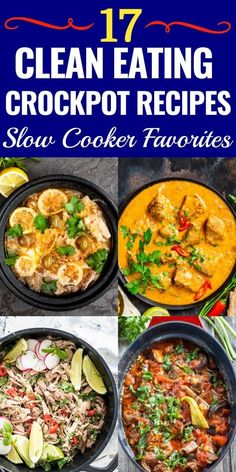 17 Clean Eating Crockpot Recipes If you're eating clean then check out these healthy slow cooking dinner recipes! From delicious chicken and easy crockpot pork to yummy vegetarian soups-the search for easy clean eating dinner recipes is over! Clean Eating Recipes For Dinner, Clean Eating Breakfast, Clean Eating Snacks, Eating Healthy, Healthy Food, Clean Eating Soup, Clean Eating Vegetarian, Healthy Tips, Breakfast Ideas