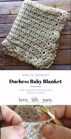 Use this close up video tutorial and free crochet pattern to crochet the Duchess Baby Blanket, a timeless heirloom that will be treasured for years to come. # unique afghan crochet patterns projects Learn to Crochet this Elegant Baby Blanket Crochet Motifs, Knit Crochet, Crochet Afghans, Crochet Blankets, Crochet Shell Stitch, Booties Crochet, Diy Baby Blankets, Crochet Hats, Knitting Baby Blankets