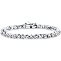 BERRICLE Sterling Silver with Round Swarovski Zirconia Wedding Tennis... ($93) ❤ liked on Polyvore featuring jewelry, bracelets, clear, tennis bracelet, women's accessories, sterling silver tennis bracelet, clear crystal jewelry, clear jewelry and sterling silver jewellery
