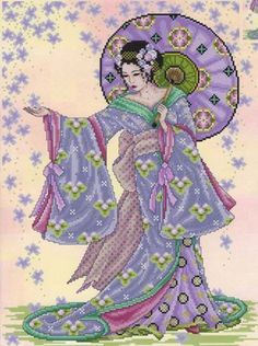 Summer Geisha Cross Stitch Pattern Embroidery Patterns by Joan Elliott Cross Stitch Kits, Cross Stitch Charts, Cross Stitch Designs, Cross Stitch Patterns, Cross Stitching, Cross Stitch Embroidery, Embroidery Patterns, Japanese Patterns, Japanese Art