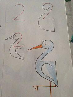 Leer je kinderen tekenen. De gaafste tekeningen die met nummers beginnen! Goed voor de ontwikkeling!