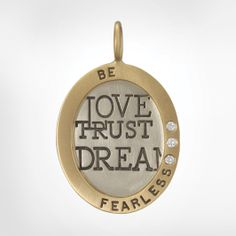"""Size 6 White Gold Oval Charm with a Yellow Gold Wide Frame and 1.5mm White Diamonds - Stamped with """"Be Fearless"""""""