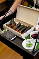 sushi in the shape of cigars. Also use for spring rolls. love!