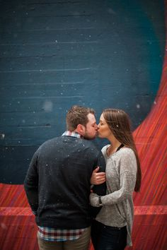 Romantic snow falling engagement session