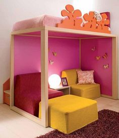 tween girl bedroom with loft bed, I wonder if I could do this for my daughter.  its sooo cute and leaves extra room |Pinned from PinTo for iPad|