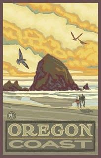 I want Paul A Lanquist to come paint Charleston scenes. I also love this Haystack Rock on the Oregon Coast.