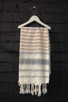 Carousel The Stripe Turkish Towels in Blush and Carbon