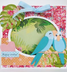 Boutique Scrapbooking, Marianne Design Cards, Parakeet, Paper Cutting, Embellishments, Creations, Card Making, Anniversary, Tropical