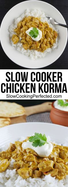 Rich & fragrant slow cooker chicken korma curry made with an amazing homemade curry paste. Rich & fragrant slow cooker chicken korma curry made with an amazing homemade curry paste. Slow Cooking, Slow Cooked Meals, Cooking Recipes, Skillet Cooking, Cooking Chili, Cooking Rings, Cooking Icon, Cooking Hacks, Cooking School