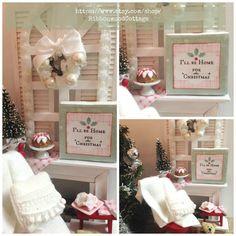 White Christmas Fireplace Vignette-1:12 scale by RibbonwoodCottage