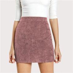 1853e0524e Women s Solid Pink Corduroy Back Zipper Casual Bodycon Skirt. AtuendoPolleras  CortasPantalones ...