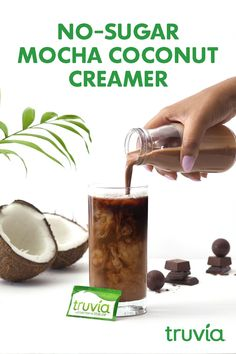 Stare into the deliciousness that is our Mocha Coconut Creamer recipe made with calorie-free Truvia Natural Sweetener. Sugar Free Recipes, Ww Recipes, Low Carb Recipes, Whole Food Recipes, Cooking Recipes, Yummy Drinks, Healthy Drinks, Yummy Food, Tasty