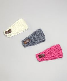 Pink, White & Gray Knit Headband Set