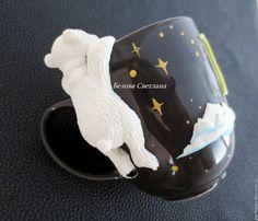Купить Кружка Белый медведь - черный, белый, белый медведь, медведь на кружке