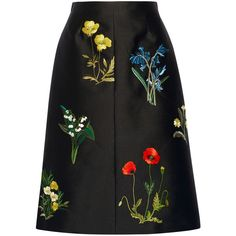 Stella McCartney Renee embroidered twill skirt ($1,970) ❤ liked on Polyvore featuring skirts, stella mccartney, black, mid calf black skirt, mid calf skirt, a line midi skirt and stella mccartney skirt