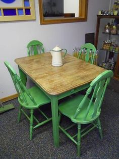 vintage kitchen table and chairs like new by elzbug on etsy 32500 - Green Kitchen Table