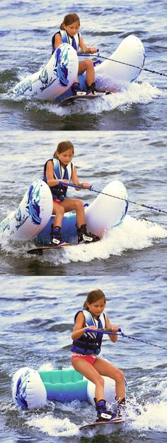 Learn how to water ski and wakeboard with ease. I think this is an awesome way for beginners to learn!  It won't be long before our kids need this :)