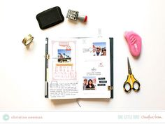 Small scale scrapbooking in a Traveler's Notebook by Christine Newman | One Little Bird