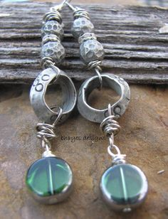 Green and Silver Earrings by brendalou2 on Etsy, $20.00