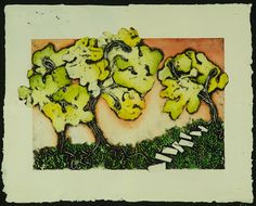 candice ashment art: Trees, Collagraph Print on Handmade Paper with Watercolor
