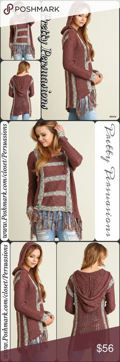 NWT Hooded Fringe Crochet Knit Boho Sweater DESCRIPTION COMING SOON NOW AVAILABLE FOR PURCHASE ❤️ Pretty Persuasions Sweaters