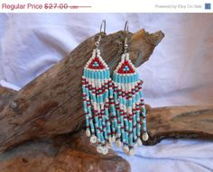 ON SALE Hand Beaded Earrings Brick Stitch by FaeMoonWolfDesigns, $20.25