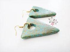 Items similar to Off Triangle Ceramic Earrings / Turquoise CeramicTriangle Stones / Gold Plated Ear Loop / Handmade Earrings on Etsy Handmade Jewellery, Earrings Handmade, Striped Sandals, Stone Gold, Gold Stripes, Ear Loop, Ss 15, Boho Earrings, Sunglasses Case