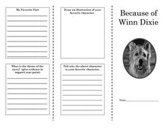 This+tri-fold+brochure+allows+students+to+review+the+story+structure,+characters,+and+setting+of+the+story.+This+is+a+great+culminating+project+that+complements+my+Because+of+Winn+Dixie+Book+Study+Unit.++Check+out+my+full+novel+unit+for+the+book+Because+of+Winn+Dixie+at+my+store.