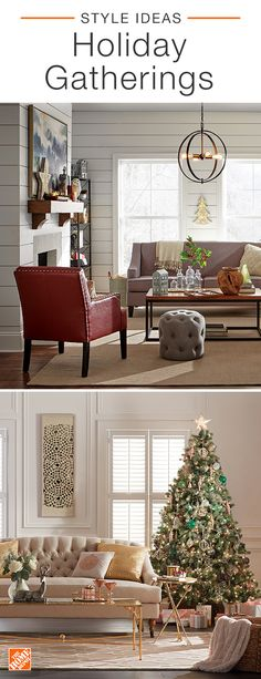 Dress your living space in holiday finery to celebrate the Christmas season. Start by creating a color palette with rich cream and rose-gold accents or pops of red before decorating your home. Add comfy throw pillows, festive decor and a touch of holly for a warm, inviting look. Click to shop new pieces for your space.