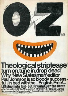 Titlepiece and illustration by Martin Sharp, Oz no. 1 (London), February 1967