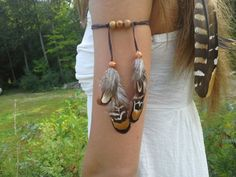 Real Feather Armband Boho Bohemian Native by dieselboutique