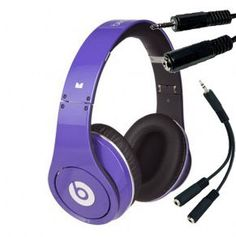 Monster Power Beats by Dr. Dre Studio High-Definition Isolation Headphones (Purple) 128740 + 2 Way Headphone Splitter + 10 Feet Headphone Extension Cable!!!