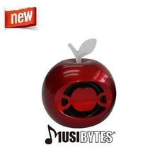 Red Apple Byte Portable Mini Speaker for Music Players, Cellphones & iPhones