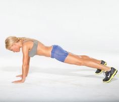Allover Move (Step 1): Start in push-up position, shoulders over wrists and hips in line with rest of body, legs slightly wider than shoulder-width apart.