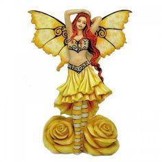 Azalea Rose Yellow Fairy Figurine is by artist Amy Brown. Azalea Rose Fairy is part Amy Brown's Rose fairy collection – Azalea represents the Yellow Rose. Daphne Flower, Amy Brown Fairies, Fairy Figurines, Fairy Statues, Fairy Pictures, Flower Fairies, Magical Creatures, Beautiful Creatures, Fairy Art