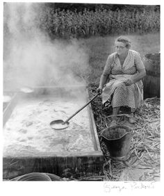 My great-grandmother, Abbie Hall Pratt, stirring molasses. This photo was taken by George Pickow (Jean Ritchie's husband). -Emily