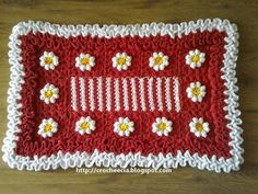 Croche e Cia: Tapetes Coasters, Crochet Rugs, Blanket, Knitting, Mary, Blue And White Dress, Crocheted Afghans, Towels, Rugs