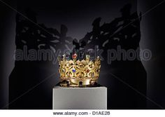 Gold crown of the Rainha Santa Isabel at the Machado de Castro Museum in Coimbra, Portugal, Europe Stock Photo