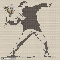 Banksy Cross Stitch Pattern Rage by StitchBucket on Etsy