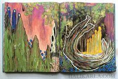Altered book visual journal art, Hali Karla