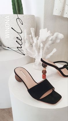 Our heels and mules have beautiful sculptural heel details. They also have Leather soles and interiors.   #statementheels #sculpturalheel #heels #winonaaustralia Lace Up Heels, Black Heels, Australian Fashion Designers, Heeled Mules, Interiors, Leather, Shoes, Beautiful, Zapatos