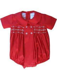 44bbedf3f Abigail Red Hand Smocked Baby Girls Long Bubble 18 m. Baby Boy Christmas ...