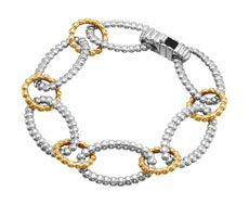 John Hardy Bedeg 18k yellow gold and silver link bracelet. Available for purchase online at www.leonardojewelers.com and in our Red Bank, NJ and Elizabeth, NJ stores.