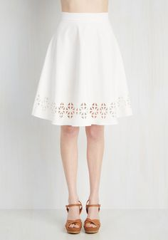 Geo Rising Skirt. Get in touch with your inner attention-grabbing self by sporting this pure white skirt! #white #modcloth