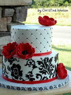 Red Anemone Buttercream Cake