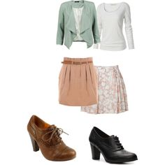 Love the light blue blazer, paired with the pink skirt and belt, and oxford heels = the perfect outfit.