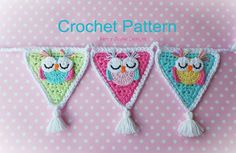 SLEEPY OWL BUNTING Garland  Owl crochet by KerryJayneDesigns