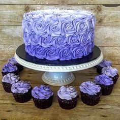 Purple ombré rosette cake and cupcakes #rosette #rosettecake #buttercreamcake #ombrecake #ombre #cutecake #edibleart #cake #prettycake #simplecake